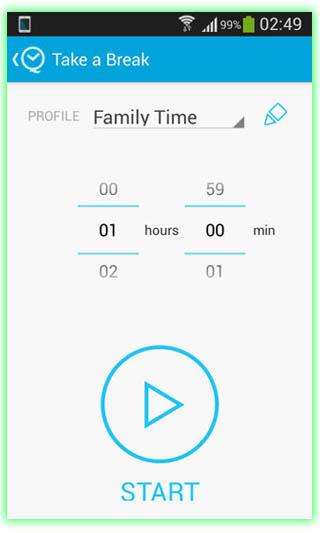 عکس از داخل برنامه فوقالعاده Quality-time برای کنترل و نظارت بر استفاده از گوشی تلفن همراه (موبایل)